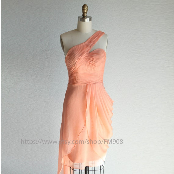 bridesmaid dresses / Romantic / peach  /  / dresses /Fairy /one shoulder / Bridesmaid / Party / wedding / Bride ( A015)
