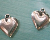 2 Antiqued Silver Plated Pewter Hearts Heart Charm Charms Jewelry