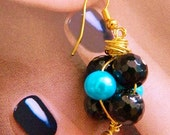 Black Spinel turqouise fwpearls and red agate summer rose bud style earrings hand wire wrapped on gold