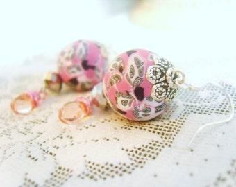 Pink Black white modern ball orb earrings swirl  pattern wire wrapped pink  dangle glass drops
