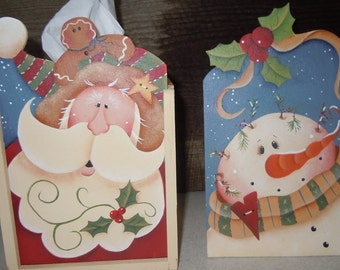 Winter tissue box hold with santa and snowman