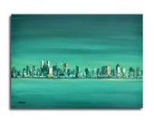 """Emerald city - Oil painting - New York city impressions -  cityscape painting - emerald green, beige, white, ocher -19,7"""" x 27,6"""""""