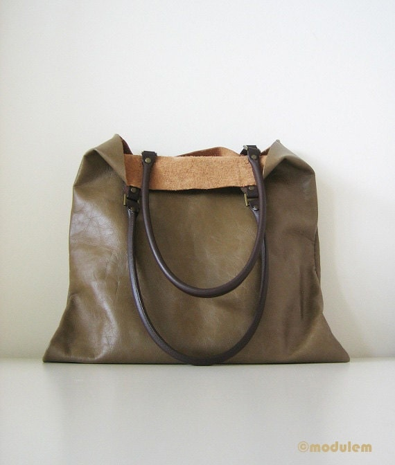 SALE 25% Olive Rustic Leather Tote, book bag, urban chic, hand stitched, large, dark green, moss brown, carry-all, shoulder bag, gift, 14x14