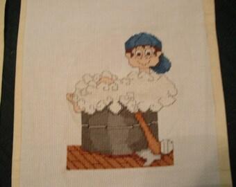 Cross Stitch Boy in Tub