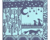 HALF PRICE SALE A Woodland Tale, a signed print of an original paper cut by Loula Belle At Home
