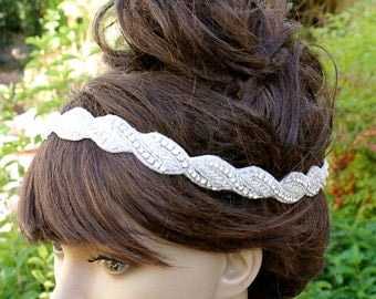 Diamond BRIDAL HEADBAND, Hollywood Style Headbands, Crystal Headpiece by VegasVeils. Ready to Ship.