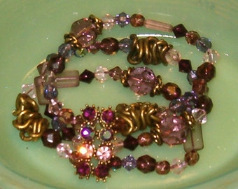 Gorgeous Bracelet Amethyst Lavender Purple Glass Beads Variety, 3 Strands w Colorful Rhinestone Connector