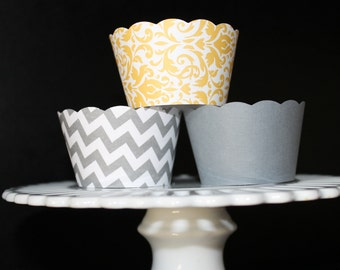 Yellow Damask and Grey Chevron Stripe Cupcake Wrappers