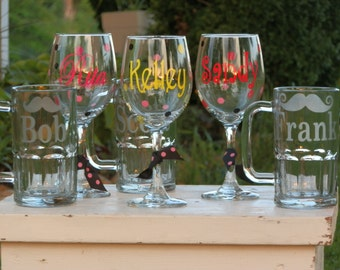 Set of 6 Personalized Wine Glasses and Etched Beer Mugs with Mustache