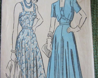 "Vintage 1940s Sundress Pattern Advance No 4826 Sundress & Matching Bolero 32"" Bust"
