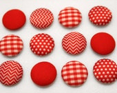 Push Pins or Magnets - Plaid and Polka Dots, Red