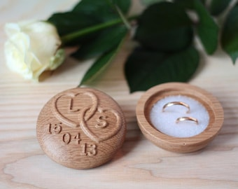 Wedding ring box Ring Bearer Pillow Alternative ring bearer with carved initials and date Twisted Hearts box oak wood box Heart box