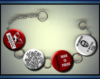 1984 Orwell Classic novel Newspeak Charm Bracelet with Rhinestones Altered Art Jewelry