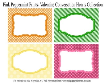 NEW INSTANT DOWNLOAD The Conversation Hearts Valentine Printable Party Collection Food Labels