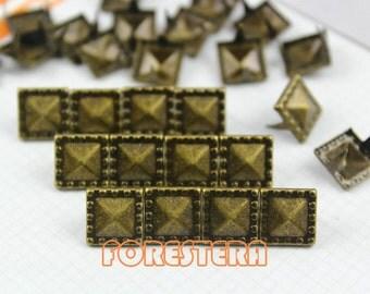 50Pcs 10.5mm Antique Brass Dotted Border PYRAMID STUDS Metal Studs (BDP10)