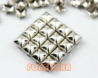 200Pcs 8mm Silver Dome Pyramid Studs Metal Studs (SMP08)