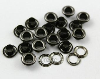 100Pcs 9mm Gunmetal Round Grommet Eyelet (GRG09)