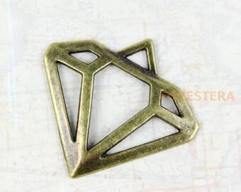 10Pcs Antique Brass diamond Charm diamond Pendant diamond connector 30x28mm (PND235)