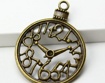 10Pcs Antique Brass Clock Charm Clock Pendant 40x30mm (PND297)