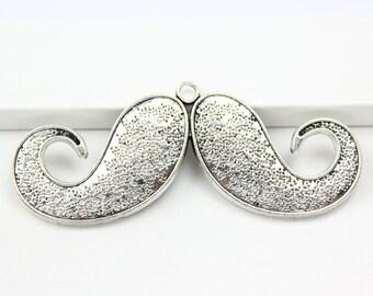 2Pcs Antique Silver moustache Charm moustache Pendant 75x30mm (PND353)