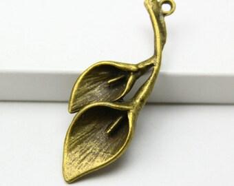 10Pcs Antique Brass calla Charm calla Pendant 37x14mm (PND305)