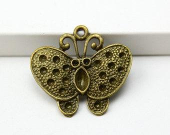 20Pcs Vintage Style Antique Brass Butterfly Charms Pendants 25x22mm (PND321)