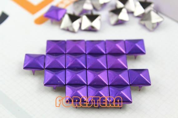200Pcs 10mm Brilliant Purple Color PYRAMID Studs (C-PU10)