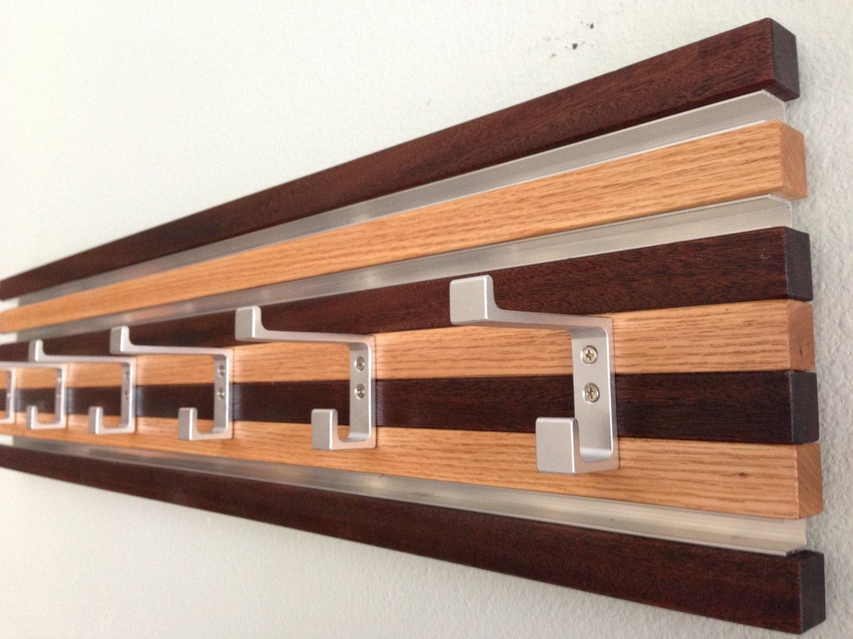 Coat Rack Wall Hanging 6 Double Hook Wood Metal Modern Oak