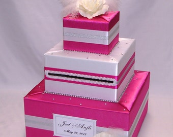 Elegant Custom Made Wedding Card Box-rhinestones,flowers,feathers