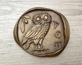 Bronze Paperweight, Greek Owl,Goddess Athena Symbol, Museum Quality Art, Greek Mythology, Ancient Greek Coin Paperweight