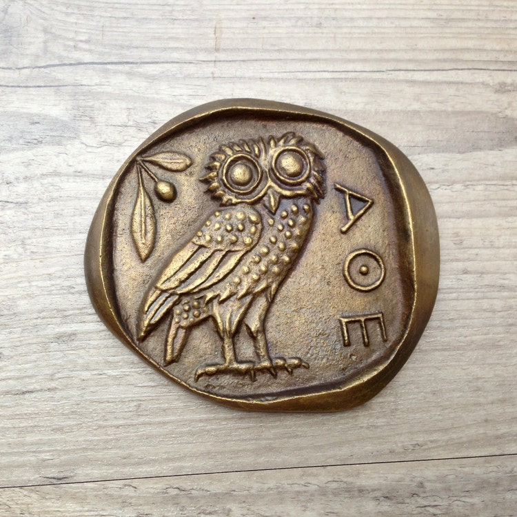 Bronze Paperweight Greek OwlGoddess Athena Symbol by ...