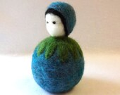 Needle Felted Blueberry Child - Waldorf storytelling puppet - Summer seasonal table item - Waldorf table puppet - made to order