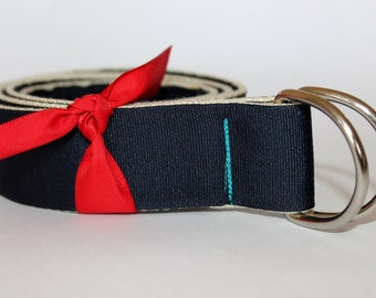"D Ring Belt Groomsmen Navy Ribbon Belt 1.5"" Wide Navy and Teal Belt Wide Men's Belt Wedding Belt Gift for Dad Thick Navy Belt Nautical Belt"