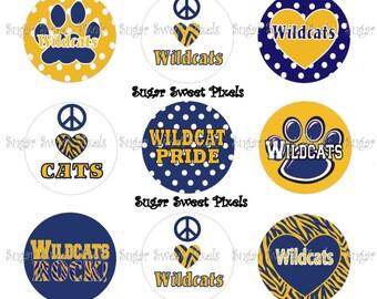 INSTANT DOWNLOAD Wildcats sheet 3   School Mascot 1 inch Circle Bottlecap Images 4x6 sheet