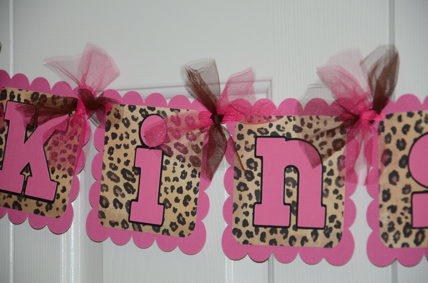 Cheetah print name banner birthday party animal by for Animal print baby shower decoration ideas