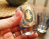 Pair of Vintage Shot Glasses in Greek Motif of Blue and Gold 1960s