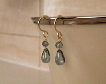 Mystic Green Quartz  Earrings in Gold Delicate Beautiful Green Gem Earrings