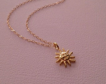 Sun Necklace in Gold -Gold Sun Necklace -Gold Sun Pendant Necklace