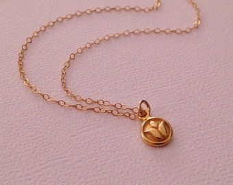 Tiny Lotus Necklace in Gold -Gold Lotus Necklace -Tiny Gold Necklace -Gold Yoga Necklace