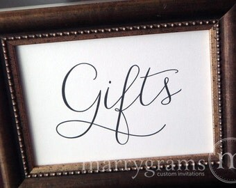 Wedding Gifts Table Sign - Wedding Table Reception Seating Signage - Matching Numbers, Chalkboard White Ink Available Card,Gift Sign SS01