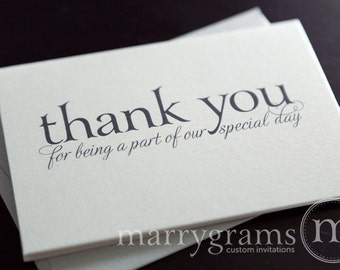 Wedding Thank You Note Card Set -Misc. Thank You for Being a Part of Our Special Day Vendor, Florist, Caterer (Set of 5) CS08