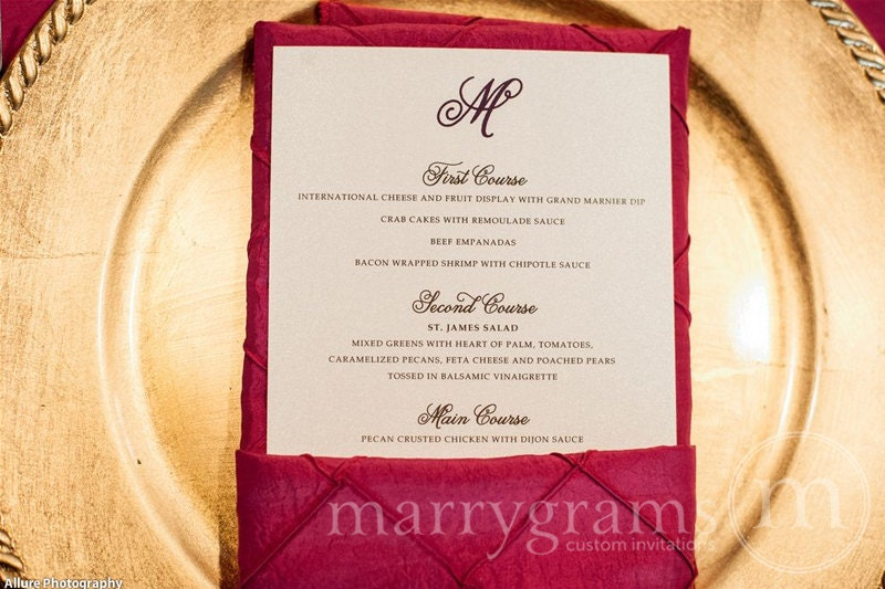 Simple Chic Wedding Menu Cards Flat With Monogram Design