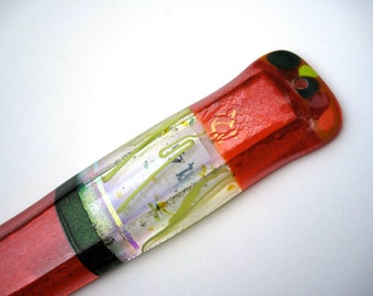 Mezuzah, orange, green  fused dichroic glass, gold painted Shin, iridescent, extra long