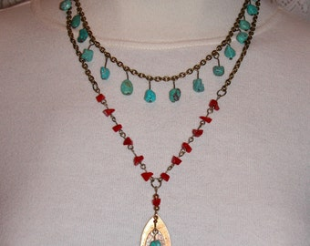 Necklace of Turquoise and Coral on Antique Brass Chain with Brass and Copper Leaf Pendant