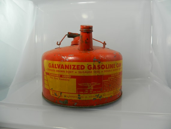 Vintage Eagle Red Chippy Galvanized Gas Can Small One Gallon Size On Sale