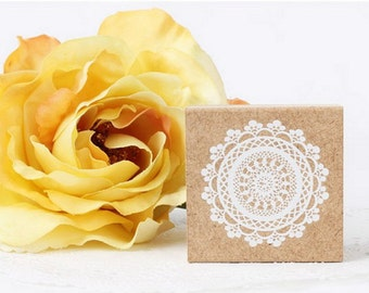 Wooden Rubber Stamp - White Lace 02 - 1 pcs