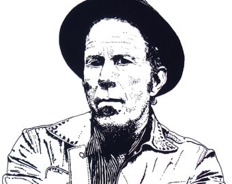 Illustrated Tom Waits Screen Print Portrait T Shirt