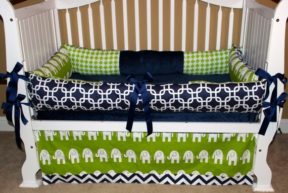 Green Navy & White Elephant Crib Set by BabiesNBaubles