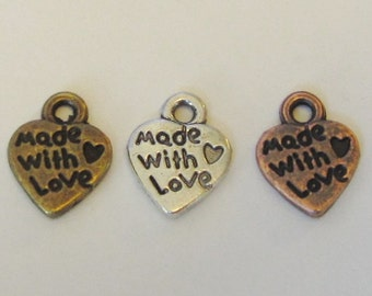 20 pcs of Tibetan Antique Bronze Silver Copper 'Made With Love' Charms Pendants Jewelry Pendants (12x10MM)