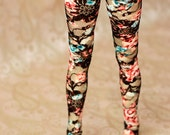 BJD Clothes SD Black Red And Turquoise Floral Stockings For Ball Jointed Dolls